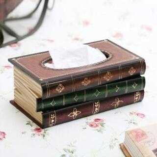 【新品未使用】 レトロ アンティーク 本 みたいな ティッシュボックス