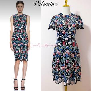 VALENTINO - 【VALENTINO】フラワー刺繍スカラップワンピース