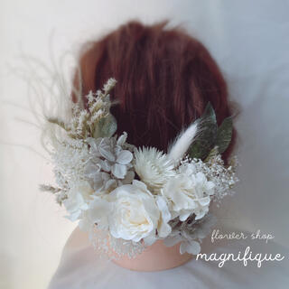 【No.202】ヘッドドレス 髪飾り ドライフラワー ホワイト×グレー(ヘッドドレス/ドレス)
