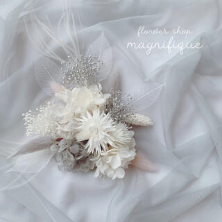 【No.316】ヘッドドレス 髪飾り ドライフラワー ホワイト×グレー(ヘッドドレス/ドレス)