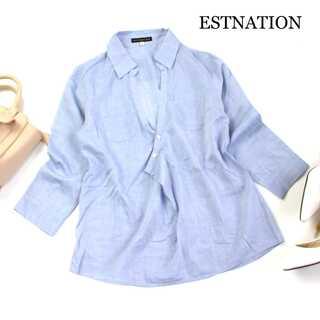 ESTNATION - エストネーション★変形 スキッパー シャツ ブラウス 7分袖 水色 40(L)