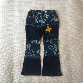 デニムパンツ ジーパン キッズ 120 フリンジ 刺繍 ロゴ フラワー 長ズボン(パンツ/スパッツ)