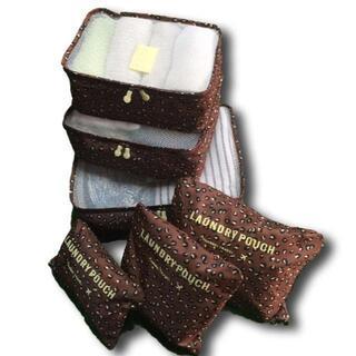 旅行用品 トラベルポーチ 6点セット ヒョウ柄 整理 収納 スーツケース バッグ(旅行用品)