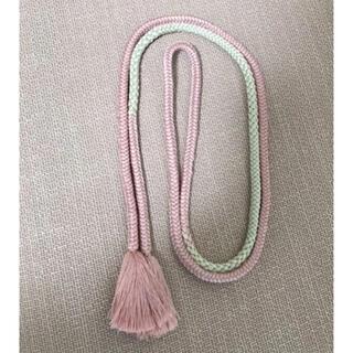 正絹帯締め 淡いピンク×淡いグリーン(着物)