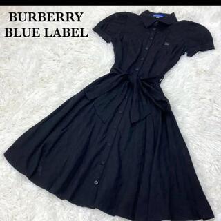 BURBERRY BLUE LABEL - バーバリー ブルーレーベル  シャツワンピース フレンチスリーブ ブラック 36