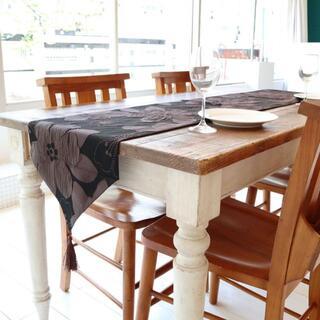テーブルランナー タッセル付き(180×33cm, ブラウン フラワー 花柄)(ローテーブル)