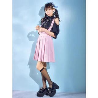 アンクルージュ(Ank Rouge)のankrouge サス付きプリーツスカート ピンク 試着のみ(ひざ丈スカート)