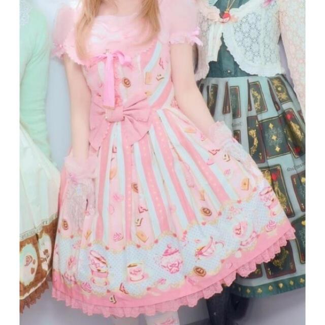 Angelic Pretty(アンジェリックプリティー)のピンク☕️wonder tea party🎀リボンカチュ✨セット レディースのワンピース(ひざ丈ワンピース)の商品写真