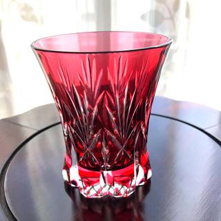 カガミクリスタル江戸切子赤グラス