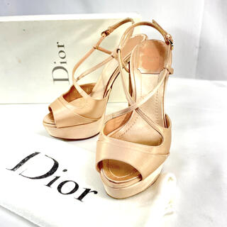 クリスチャンディオール(Christian Dior)の【良品】ディオール オープントゥ サテン ストラップ パンプス ビジュー 34D(ハイヒール/パンプス)