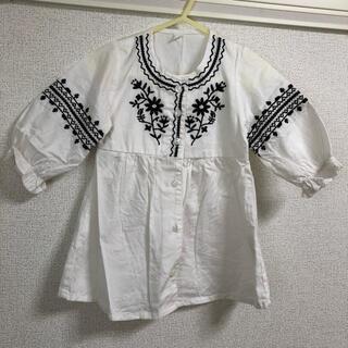 【美品】西松屋 刺繍 ワンピース ブラウス チュニック 綿100% 白 80cm