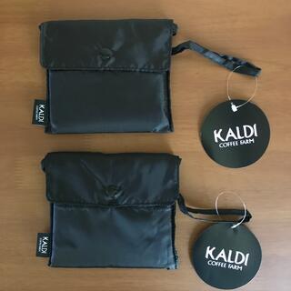 カルディ(KALDI)のKALDI  カルディ エコバッグ  ブラック 2個  折りたたみエコバッグ (エコバッグ)