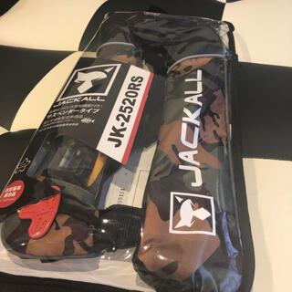 ジャッカル(JACKALL)のジャッカル 自動膨張式ライフジャケット グリーンカモ/ブラック JK2520RS(ウエア)
