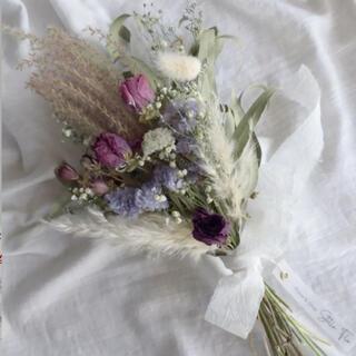 chim様専用パンパスグラスとラナンキュラスの優しいパープル スワッグ 母の日 (ドライフラワー)