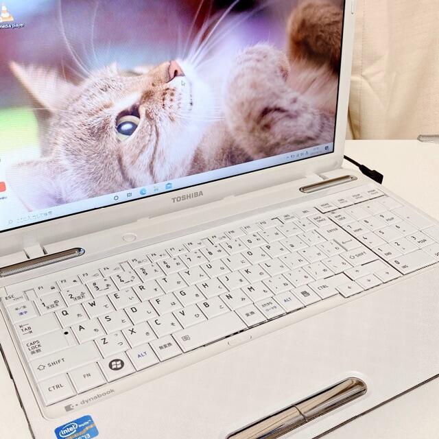 東芝(トウシバ)の【お買い得】東芝 ノートパソコン ホワイト 新品SSD 直ぐに使えます スマホ/家電/カメラのPC/タブレット(ノートPC)の商品写真