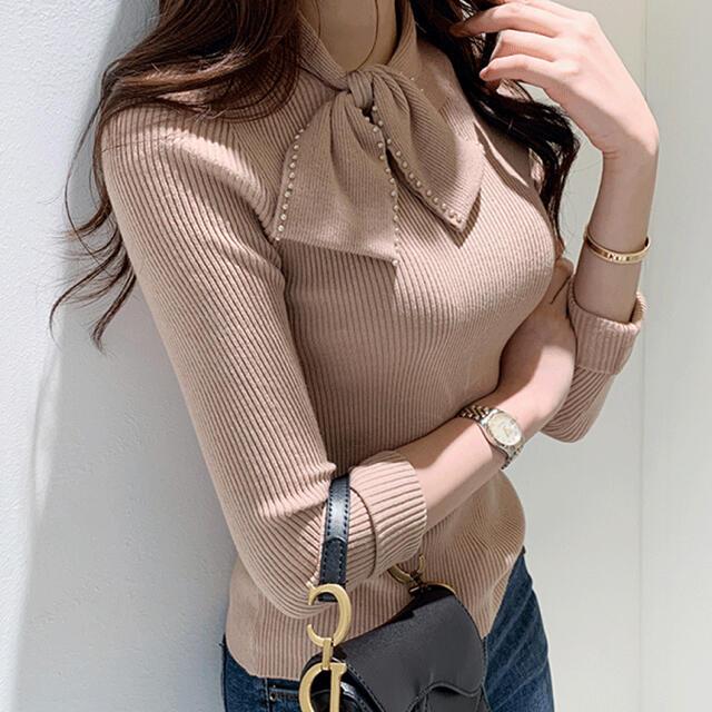 dholic(ディーホリック)のDHOLIC ラインストーンリボンリブニット 韓国ファッション オルチャン レディースのトップス(ニット/セーター)の商品写真