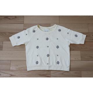ラグナムーン(LagunaMoon)のラグナムーン ビジュー付 トップス(カットソー(半袖/袖なし))