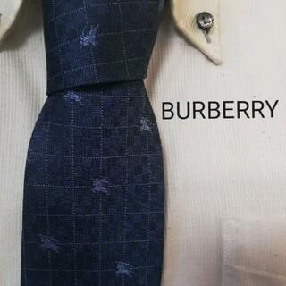 BURBERRY - 美品★BURBERRYバーバリーロンドン★光沢ホースロゴ入り高級シルクネクタイ