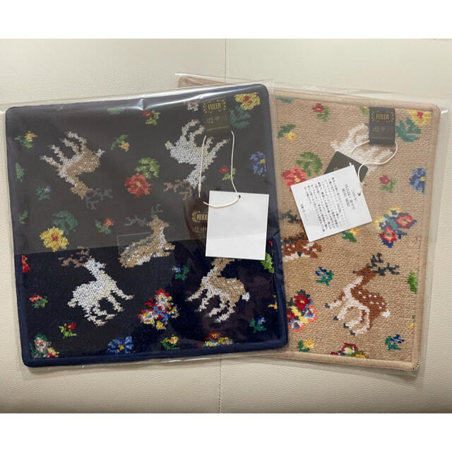 FEILER(フェイラー)のフェイラー  FEILER×遊中川 コラボ ハンカチ ベージュ&ネイビー 2枚組 レディースのファッション小物(ハンカチ)の商品写真