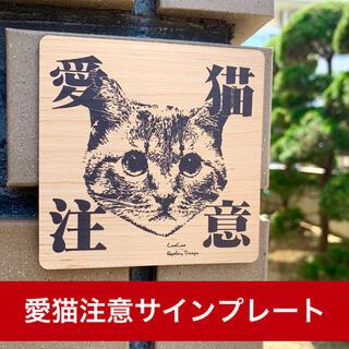 【送料無料】猛猫注意サインプレート 木目調アクリルプレート 猫 ネコ CAT (インテリア雑貨)