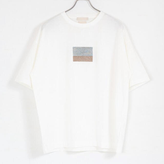 SUNSEA - YOKE MORANDI EMBROIDERED T-SHIRT(WHITE)