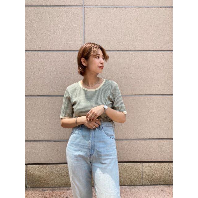 Kastane(カスタネ)の完売品 入手困難 新品 Kastane 細リブリンガーボーダーTシャツ レディースのトップス(Tシャツ(半袖/袖なし))の商品写真
