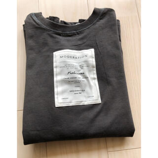 シマムラ(しまむら)のterawear emu バックロゴTシャツ 濃灰 M(Tシャツ(半袖/袖なし))