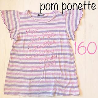 ポンポネット(pom ponette)のポンポネット パープル ピンク フリル フレンチスリーブ 半袖 Tシャツ 160(Tシャツ/カットソー)