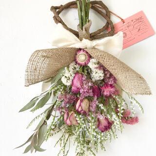 香り立つ無農薬 40cm薔薇スワッグ スターチス 銀葉ユーカリ(ドライフラワー)