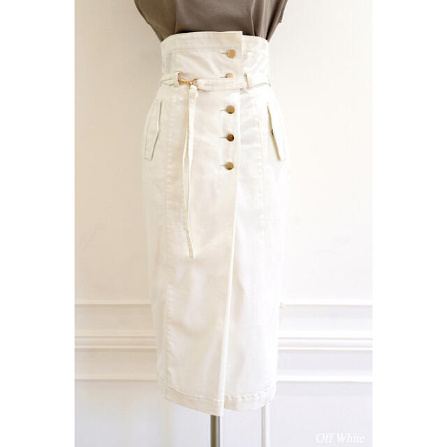 High-waisted Denim Effect Skirt レディースのスカート(ひざ丈スカート)の商品写真