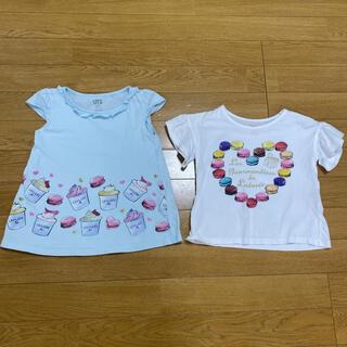 ユニクロ(UNIQLO)の女の子 Tシャツ チュニック トップス ユニクロ ラデュレ  100 2枚(Tシャツ/カットソー)