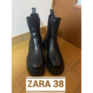 ZARA - トラックソール付きローヒール 38チャンキーアンクルサイドゴアブーツ