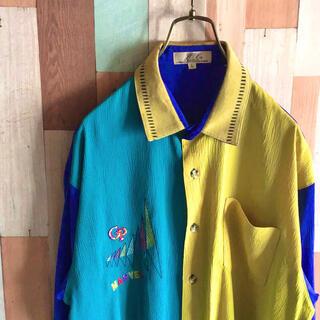 アートヴィンテージ(ART VINTAGE)のvintage 90s 古着 デザインシャツ 切り替え 好配色 ポリ コットン(シャツ)