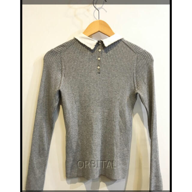 週末限定お値下げエストネーションネーシパール襟付きリブニット レディースのトップス(ニット/セーター)の商品写真