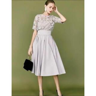 ラグナムーン(LagunaMoon)のLADYオーバーレースギャザードレス(ミディアムドレス)