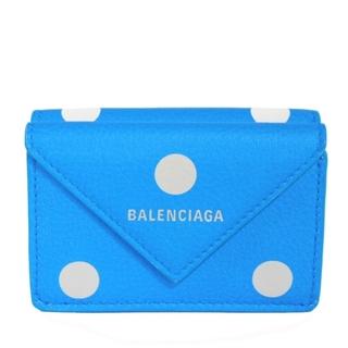 Balenciaga - BALENCIAGA ペーパー ミニ ウォレット 三つ折り財布 ロゴ ドット