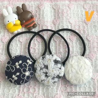 ハンドメイド♡フラワー刺繍ヘアゴムセットy