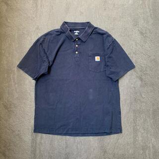 カーハート(carhartt)の古着 カーハート ポロシャツ 半袖 Tシャツ ネイビー L(ポロシャツ)