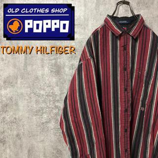 TOMMY HILFIGER - トミーヒルフィガー☆ワンポイント刺繍ロゴマルチストライプシャツ 90s