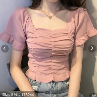 スタイルナンダ(STYLENANDA)の韓国 ブラウス シャーリング ピンク 半袖(シャツ/ブラウス(半袖/袖なし))