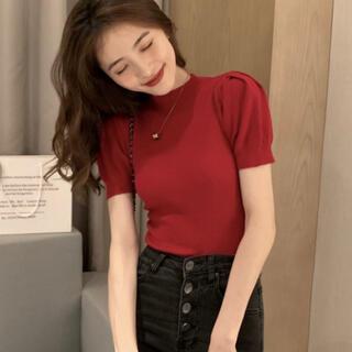 スタイルナンダ(STYLENANDA)の韓国 ニット ブラウス レッド 半袖(ニット/セーター)