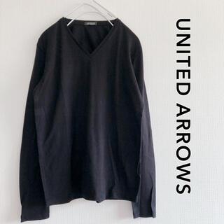 ユナイテッドアローズ(UNITED ARROWS)の210702【未使用】無地長袖Tシャツ ロンT  Vネック 黒 メンズ(Tシャツ/カットソー(七分/長袖))