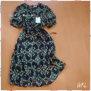 GRL - 《GRL》花柄 フラワープリント ウエストリボン ワンピース M