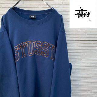 ステューシー(STUSSY)の【定番モデル】STUSSY スウェット フロント刺繍 ロゴ L ネイビー(スウェット)
