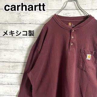 carhartt - 【超人気】カーハート☆ロゴタグ ヘンリーネック ボルドー ロンT メキシコ製