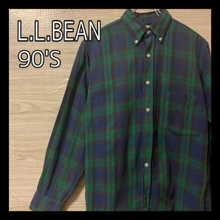 エルエルビーン(L.L.Bean)の90's USA製 L.L.Bean  チェックシャツ グリーン レトロ 古着(シャツ)