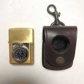 ジッポー(ZIPPO)のZippo 時計付き レザーケース付き タイムライト ジッポ(タバコグッズ)