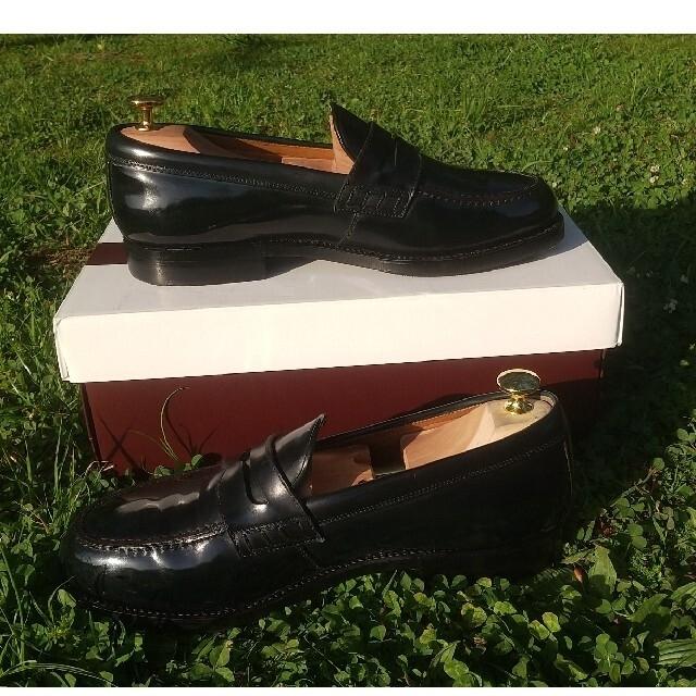 Alden(オールデン)の美品 HEINRICH DINKELACKER コードバン ネイビー ローファー メンズの靴/シューズ(ドレス/ビジネス)の商品写真