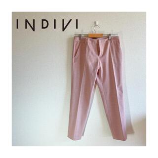 インディヴィ(INDIVI)の【日本製】インディヴィ INDIVI チェックジャカード9分丈パンツ ピンク(カジュアルパンツ)