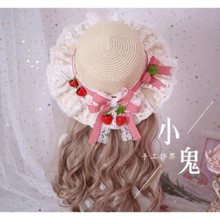 アンジェリックプリティー(Angelic Pretty)の新品。.ʚ いちご♡ロリィタɞ .。カンカン帽(麦わら帽子/ストローハット)